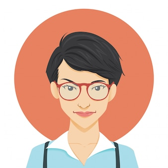 Geeky girl character illustration