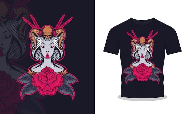 芸者と怒りの頭蓋骨のtシャツのデザインイラスト