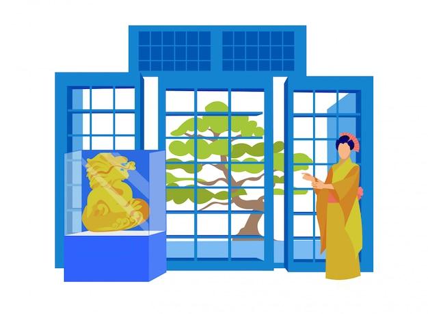 Geisha character in kimono, traditional symbols.