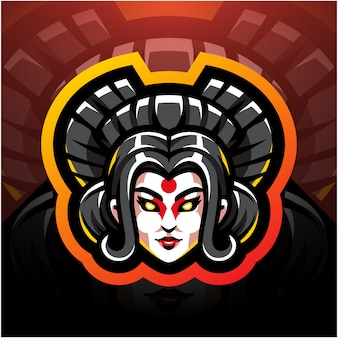 Дизайн логотипа талисмана гейши головы киберспорта