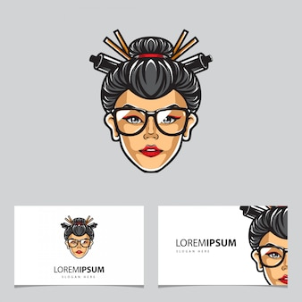 Geisha head logo name card vector template