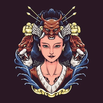 Geisha japan illustration