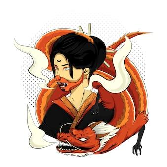 Гейша япония женщины с драконом для дизайна футболки на белом фоне
