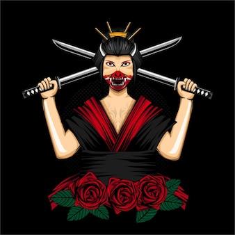 Geisha japan women with onimask for tshirt design