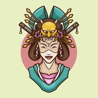 Geisha japanese culture cute illustration
