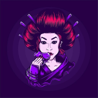 Geisha japanese culture illustration