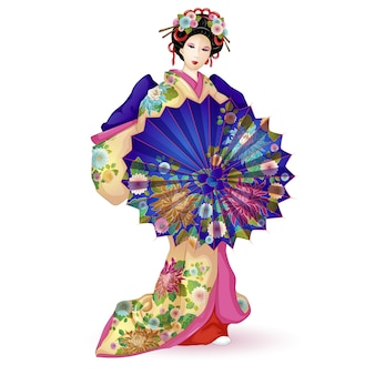 Geisha in a kimono with an umbrella.
