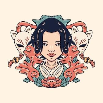 Geisha and kitsune
