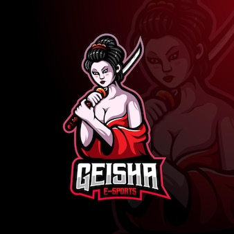 Geisha mascot logo for esports, gaming or team