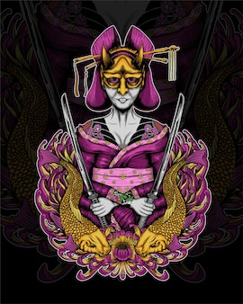 Geisha mask fish illustration vector design