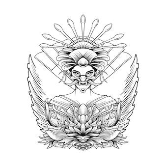 Geisha ornament illustration