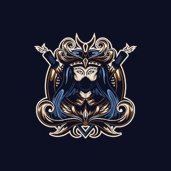 Tshirt 인쇄를위한 게이샤 벡터 일러스트 컨셉 스타일