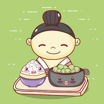 Geisha with bowl and rice in tray food japanese cartoon, sushi and rolls