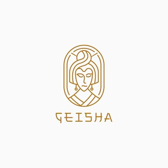 Geisha with line style logo template.