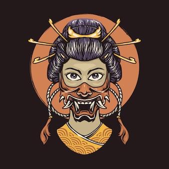 Geisha with oni mask