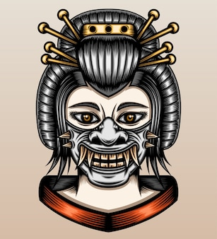 Geisha with samurai oni mask.