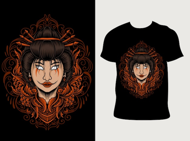 Иллюстрация женщины гейши с дизайном футболки