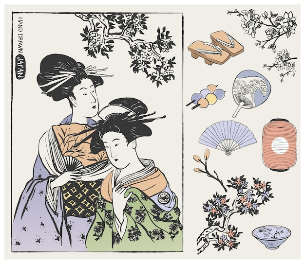 Geisha women and japanese design elements.  illustration.