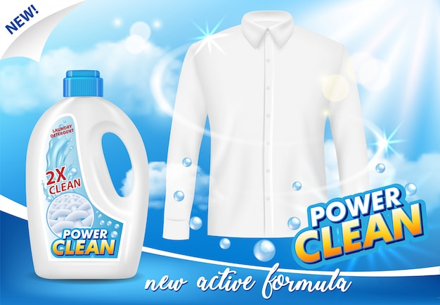 Gel or liquid laundry detergent advertising vector realistic illustration