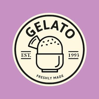Vettore del logo aziendale del gelato in stile scarabocchio carino