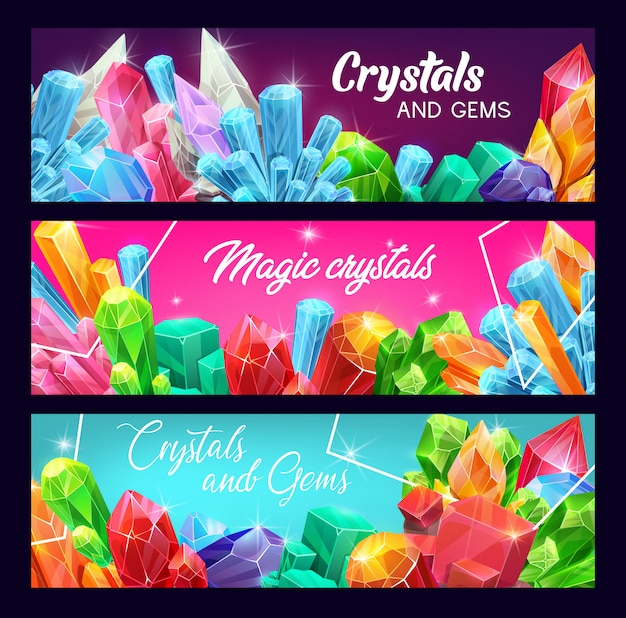 Gem crystals banner set, precious gemstones and jewels