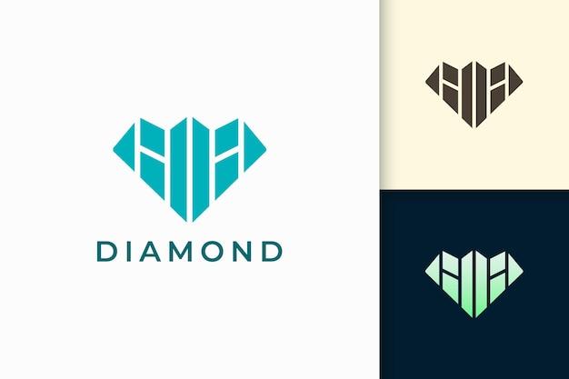 Gem or jewel logo in abstract diamond shape