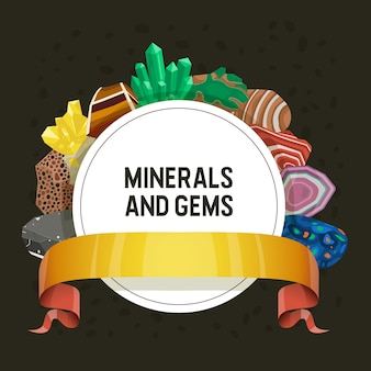 Gem mineral crystalline stone precious gemstone for jewellery illustration