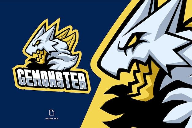 宝石モンスターマスコットeスポーツゲームのロゴイラスト