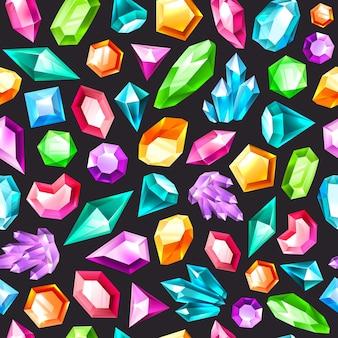 宝石のシームレスなパターン。宝石用原石のアメジスト、トパーズ、クォーツ。ダイヤモンドとルビー、サファイア、クリスタルとエメラルド、宝石はカラフルなテクスチャをベクトルします