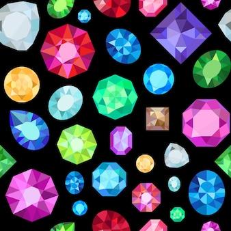 宝石のシームレスなパターン。宝石の宝石