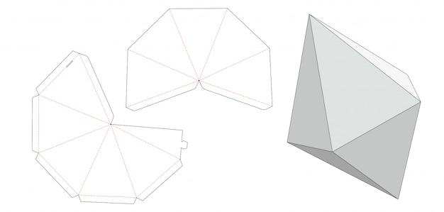 Gem stone box die cut template