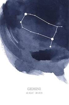 Gemini constellation astrology watercolor illustration. gemini horoscope symbol made of star sparkles and lines.