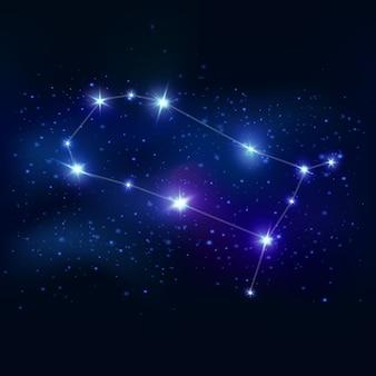 ジェミニのリアルな黄道帯のシンボルで、青い輝きの星と宇宙の接続線