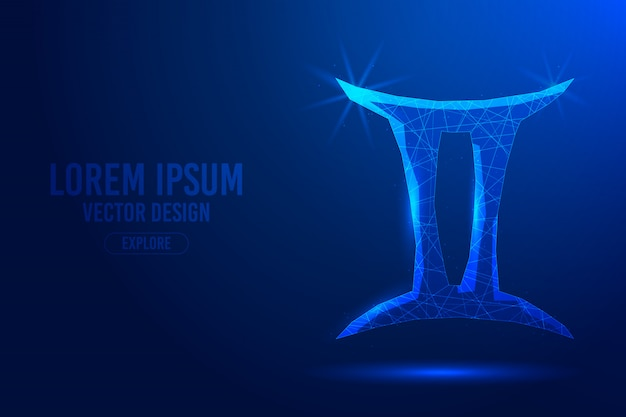 Gemini third zodiac sign abstract background. linear and polygonal 3d concept of horoscope, celestial constellation.