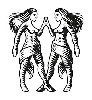 Знак зодиака близнецы, изолированные на белом фоне