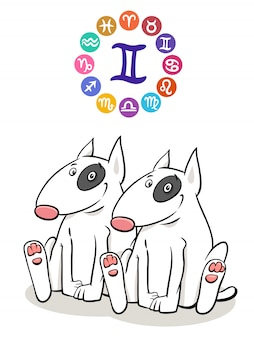 Gemini zodiac sign with cartoon dog