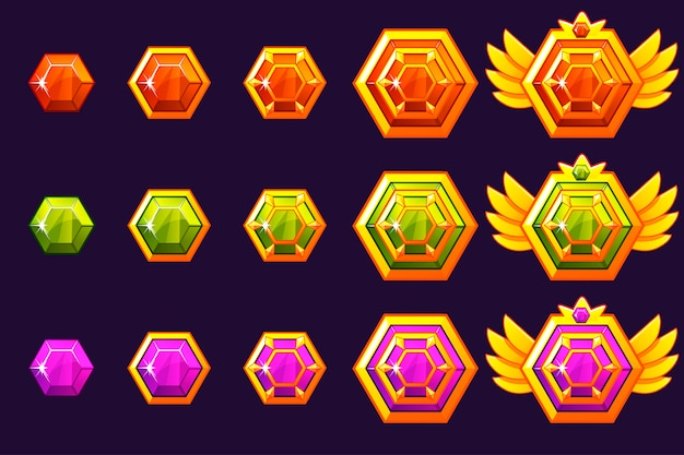 Gems award progress. golden amulets set with hexahedron jewelry.  icons assets for game design.