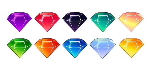 Gems and diamonds icons set in different colors