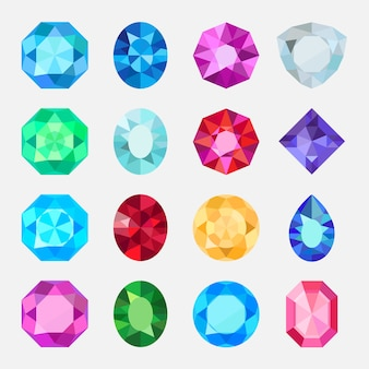 Gems isolated on white background