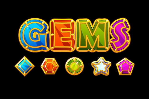 Gems logo and icons jewerls stones different shapes. set of bright glossy gemstones.