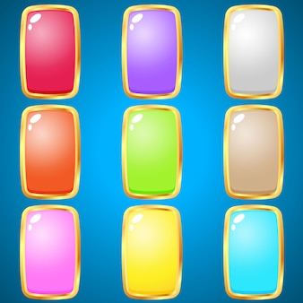 Gems rectangle 9 colors for puzzle games.