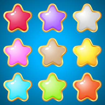 Gems stars 9 colors for puzzle games.