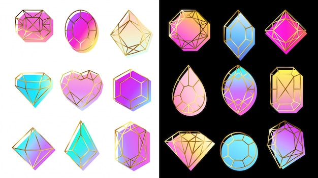 Gems with gradients. jewelry stone, abstract colorful geometric shapes and trendy hipster diamond  symbols set
