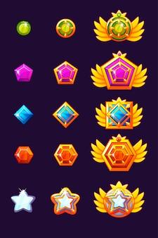 Установите прогресс награды gems. золотые амулеты с ювелирными украшениями. иконки активов для игрового дизайна.