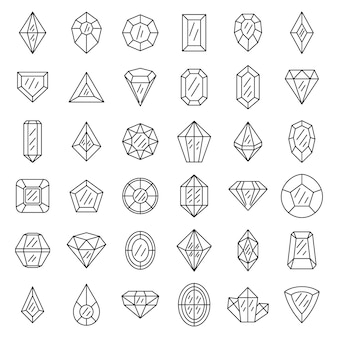 Gemstone icons set
