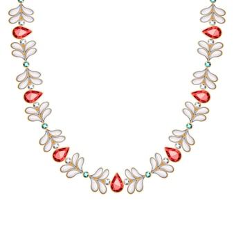 宝石と真珠は金のネックレスまたはブレスレットを鎖でつなぎます。個人的なファッションアクセサリーエスニックインドスタイル。