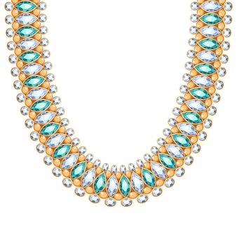 Драгоценные камни, бриллианты и изумруды цепляют золотое колье или браслет. личный модный аксессуар в этническом индийском стиле.