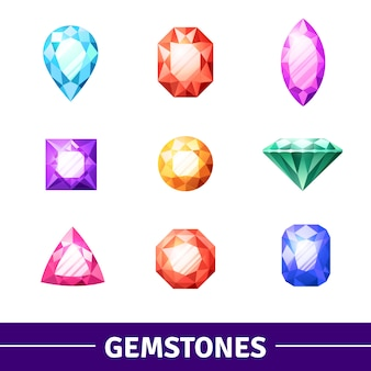 Gemstones icons set