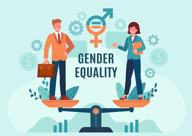 ジェンダービジネスの平等。バランスの取れたスケールで立っている従業員の女性と男性。公正な雇用機会と給与。平等な権利ベクトルの概念。男女共同参画の専門家の機会の図
