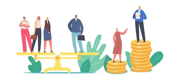 성 차별과 성 불평등 및 불균형 개념. 남성과 여성 캐릭터는 저울, 사업가 및 사업가 불평등한 급여, 페미니즘에 서 있습니다. 만화 사람들 벡터 일러스트 레이 션
